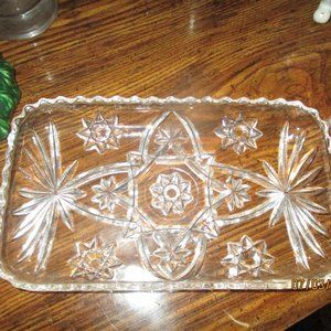 CRYSTAL TRAY ETCHED BEAUTIFUL DETAILED